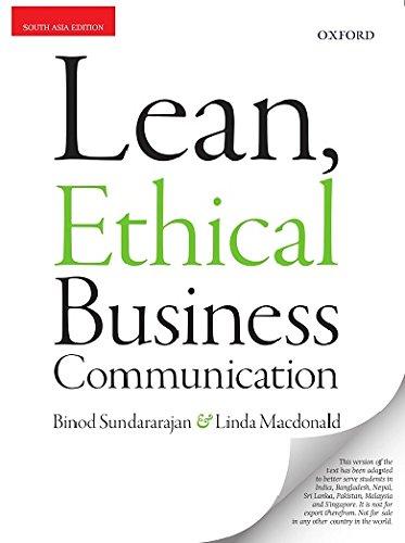 Lean, Ethical Business Communication by Binod Sundararajan  Linda