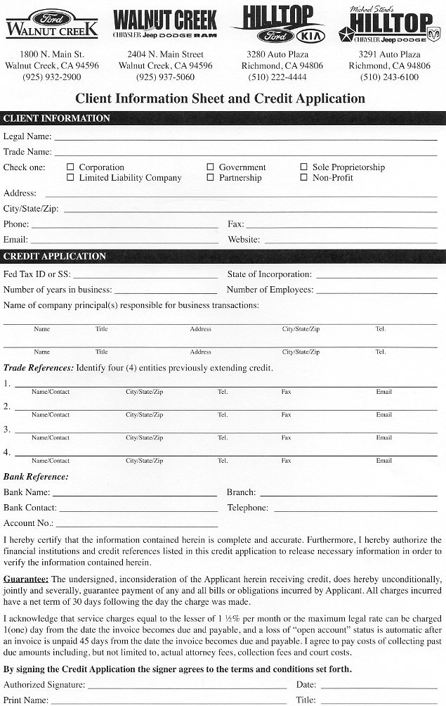 Chrysler, Dodge, Jeep  Ram Business Financing Walnut Creek CA - credit application