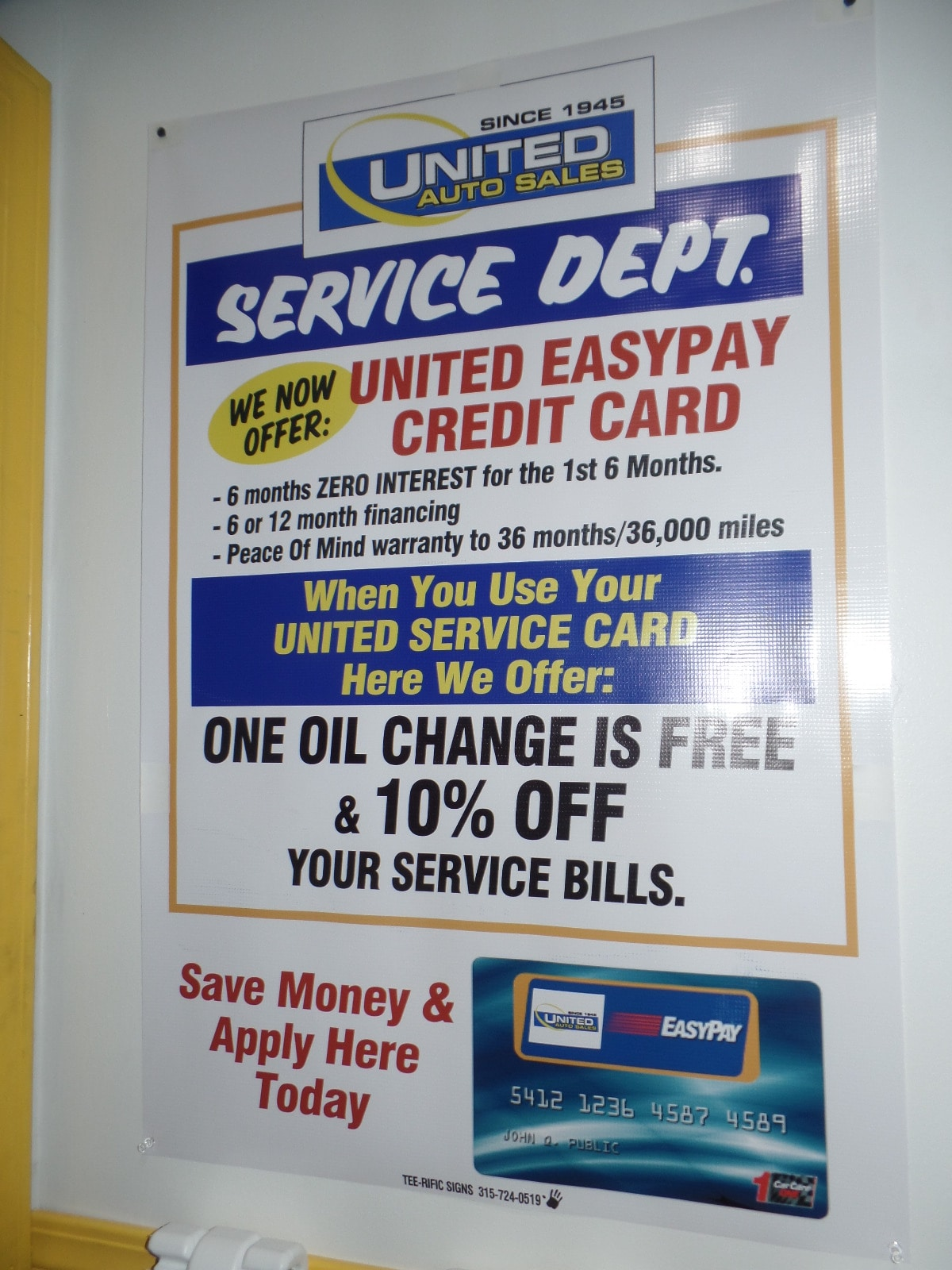 United Credit Card Customer Service United Easy Pay Credit Card United Auto Sales Of Utica