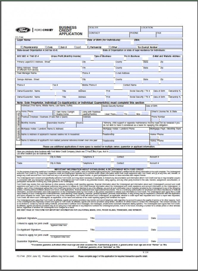 Credit Application Form York Ford Inc