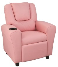 PU Leather Kids Recliner with Drink Holder - Furniture ...