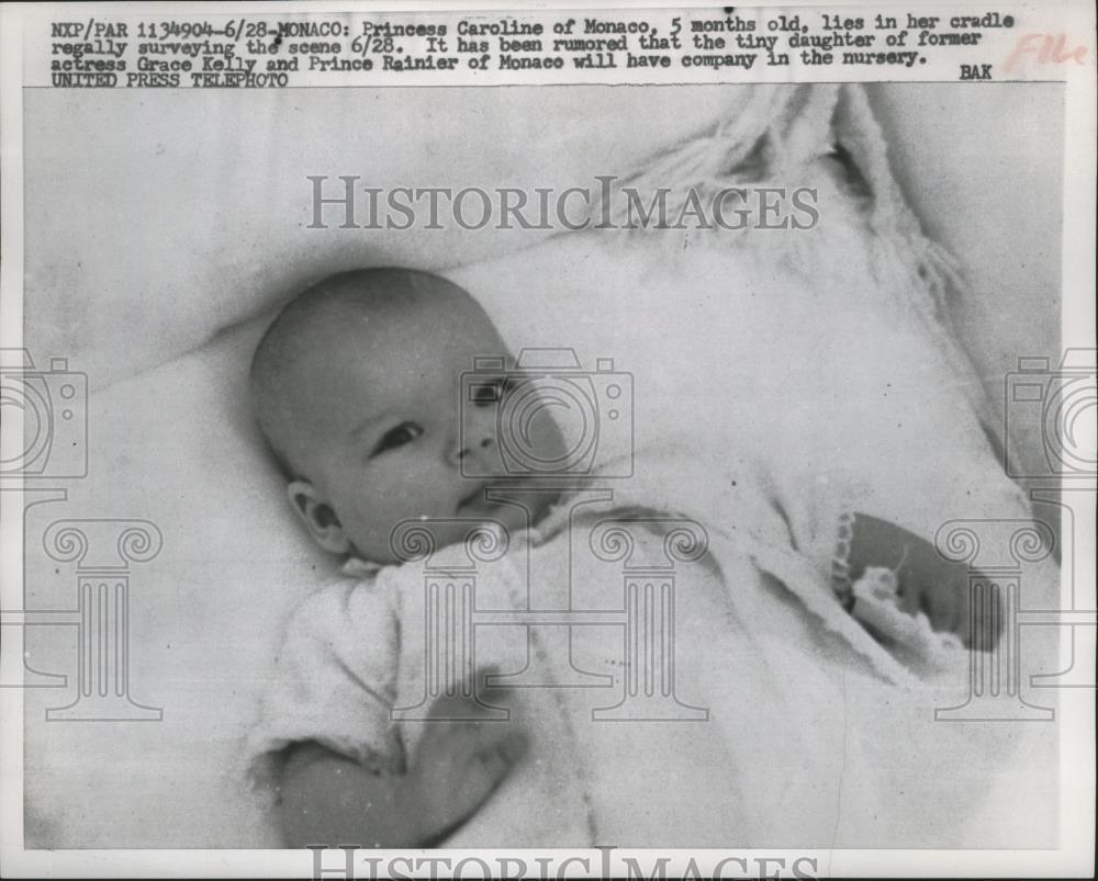 1957 Press Photo Princess Caroline Of Monaco 5 Months Old