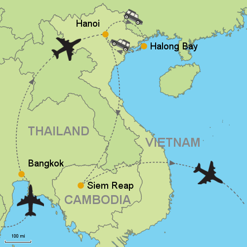 Bangkok - Hanoi - Halong Bay Cruise - Siem Reap Customizable
