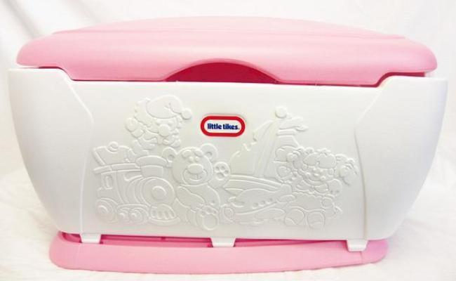 Little Tikes Giant Toy Chest Toy Box Storage Bucket Pink White