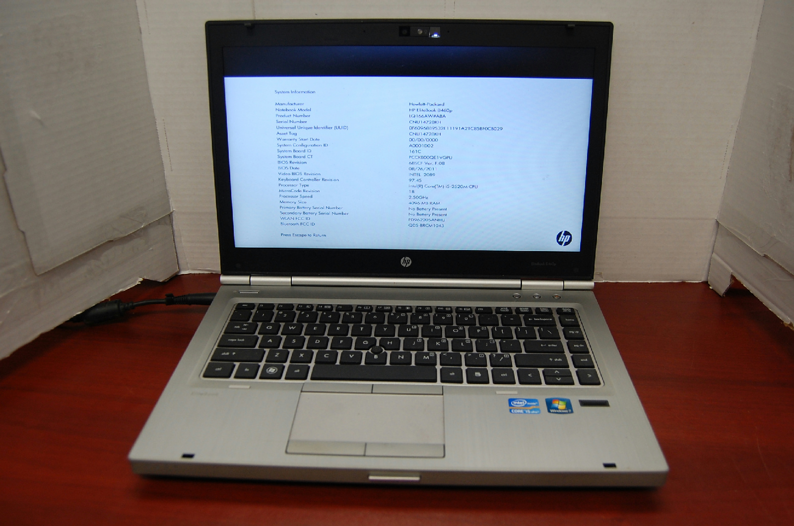 Hp Elitebook 8460p Hp Elitebook 8460p No Hdd Bios Locked 4gb Ram Intel
