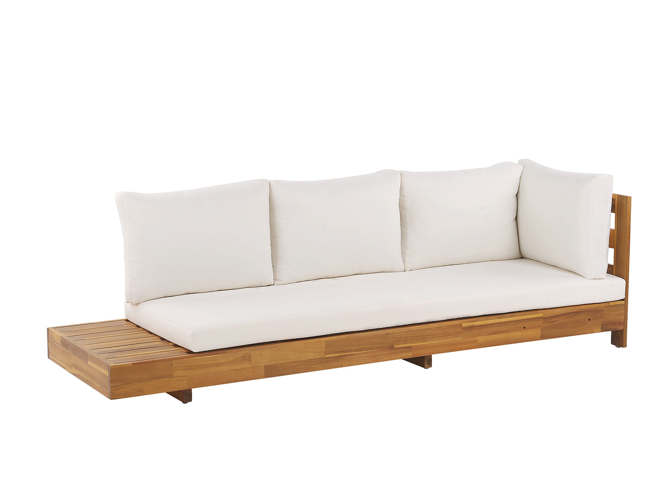 5 Seater Acacia Wood Garden Corner Sofa Set White Marettimo Beliani At