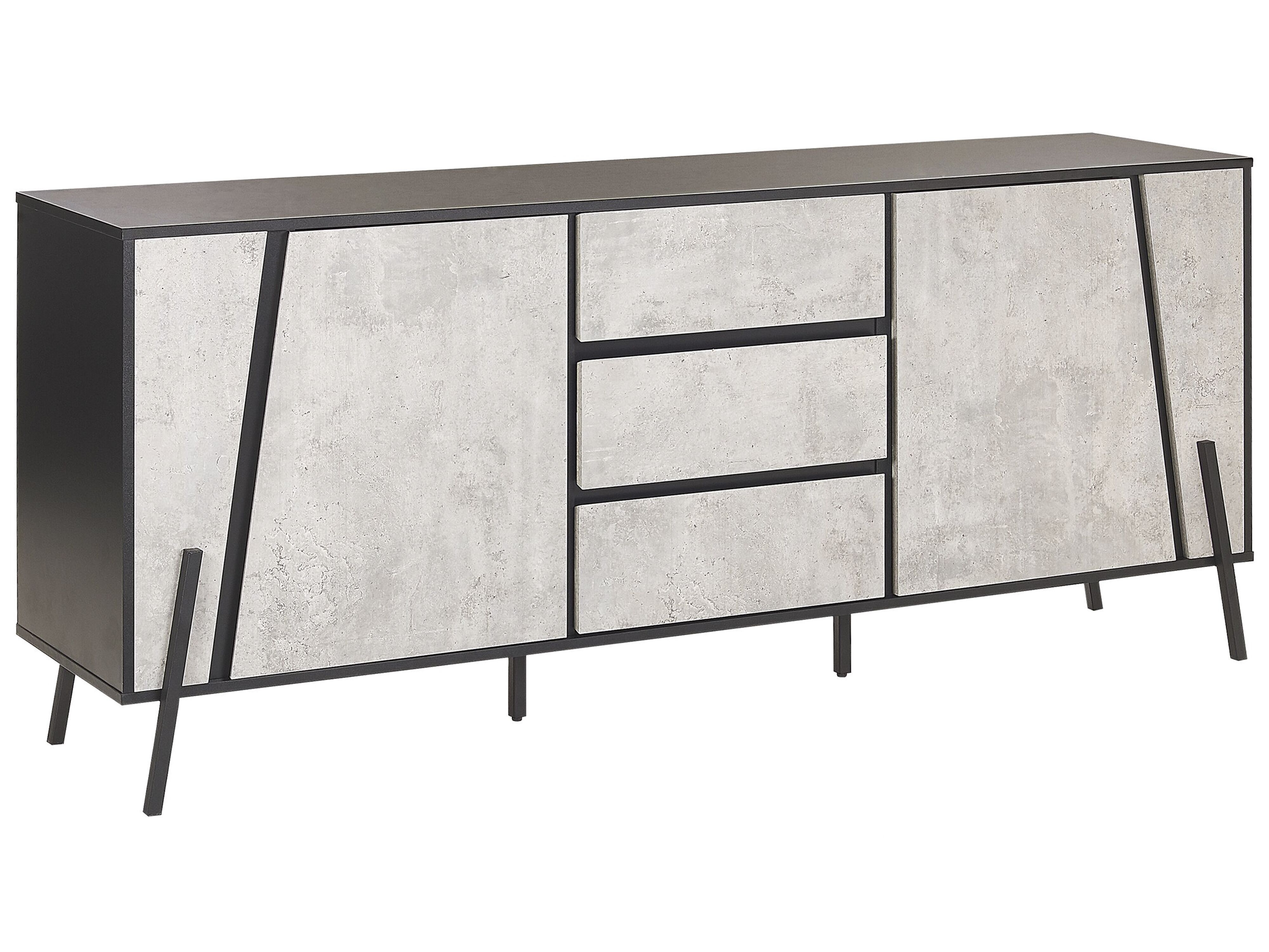 Sideboard Betonoptik 3 Drawer Sideboard Concrete Effect With Black Blackpool | Beliani.co.uk