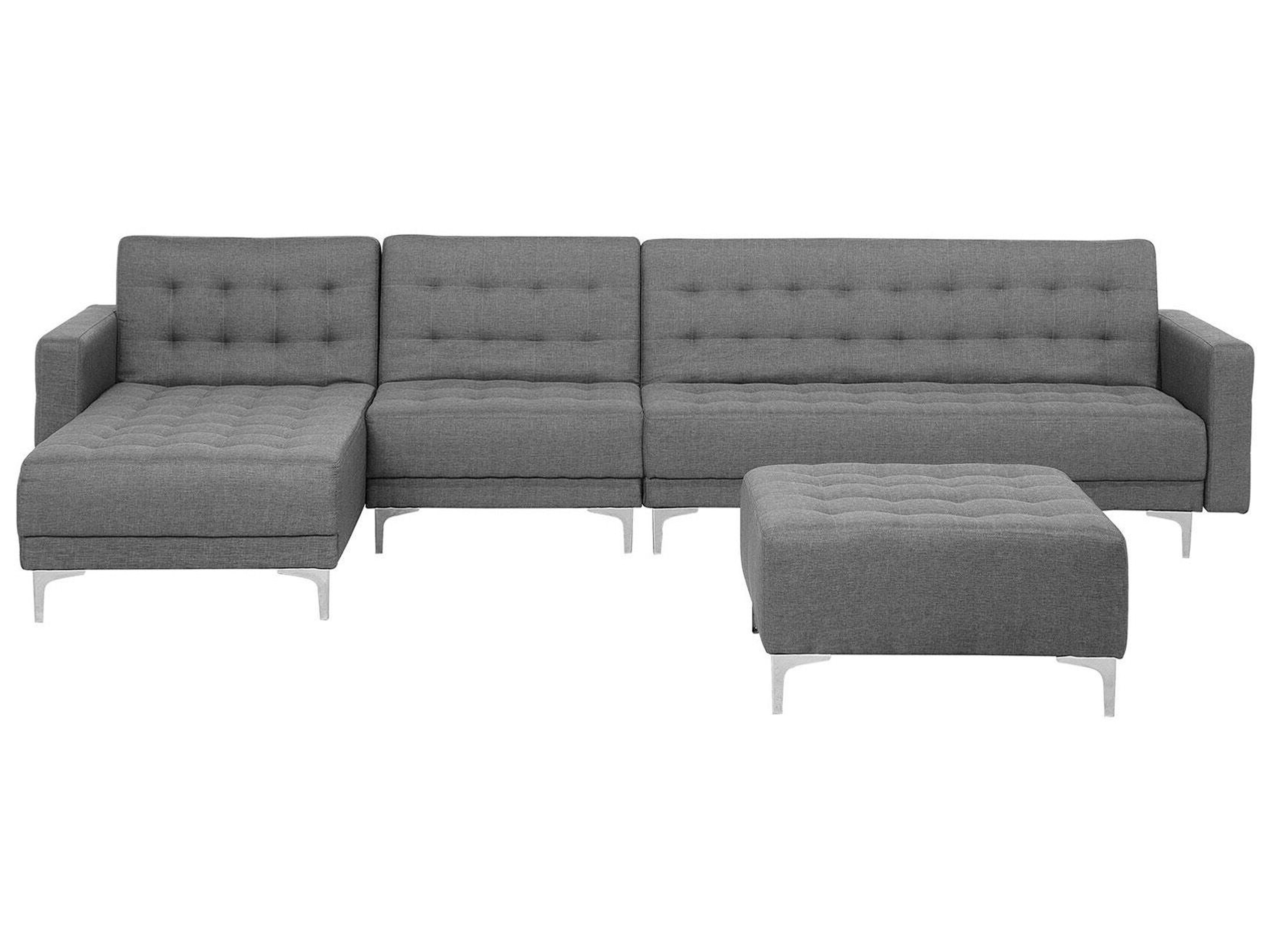 Right Hand Modular Fabric Sofa With Ottoman Grey Aberdeen Beliani Fr