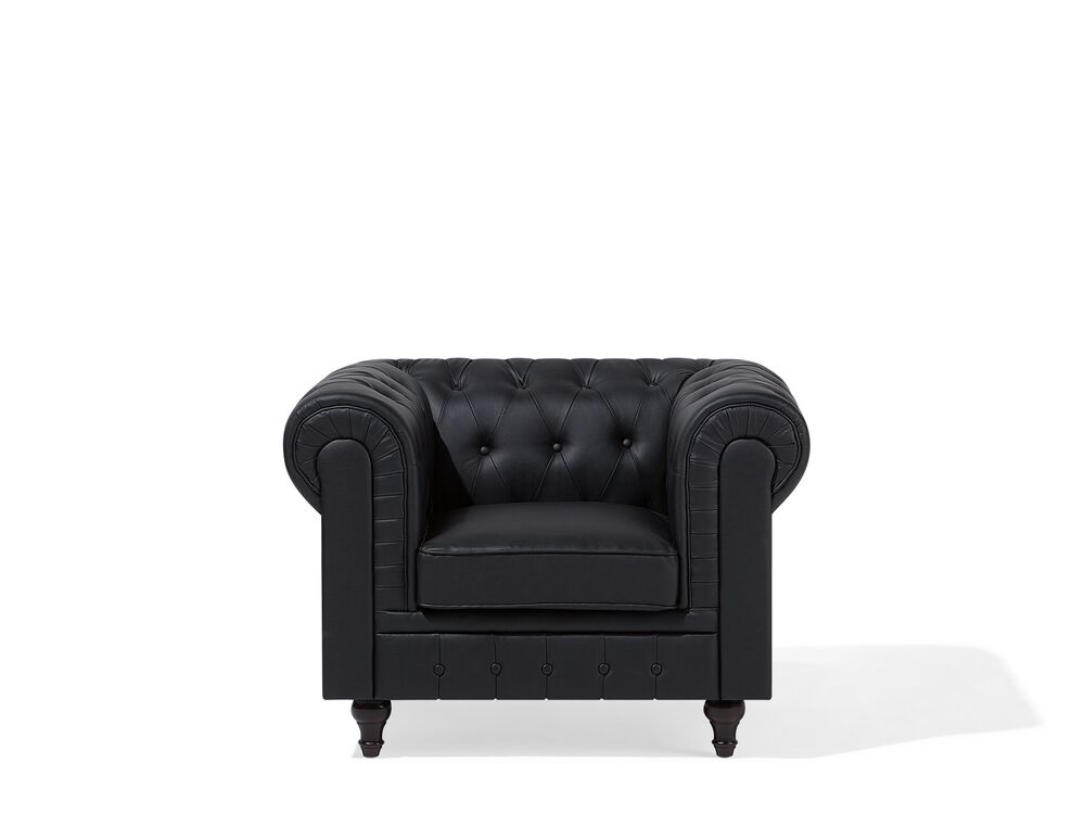 Sessel Kunstleder Schwarz Chesterfield Gross Möbel