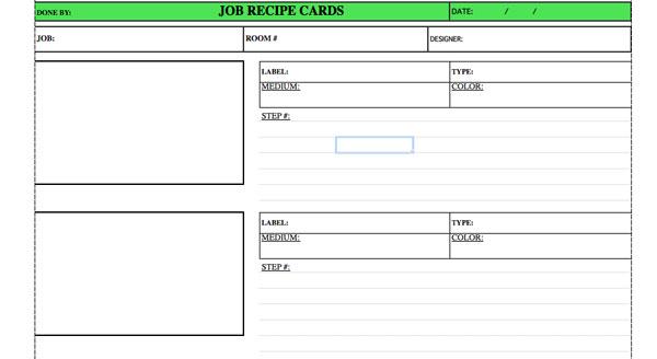 Job Recipe Cards - From the Studio of Pierre Finkelstein - job card