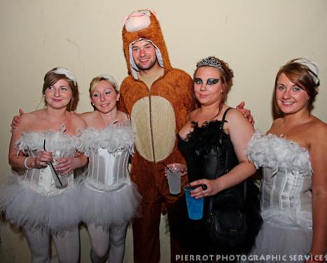 Cromer carnival fancy dress grouip of ballerinas with bear
