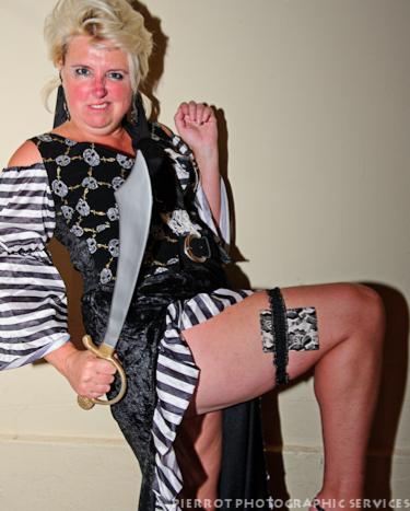 Cromer carnival fancy dress pirate's wife showing plenty of leg