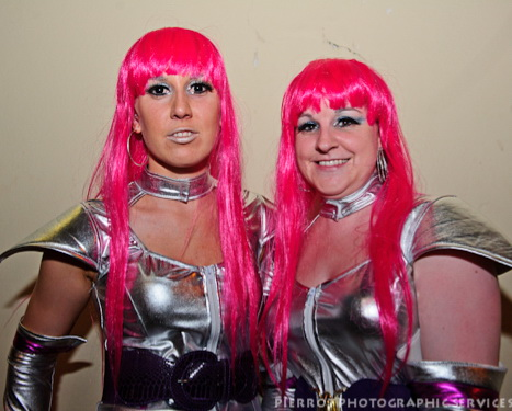 Cromer carnival fancy dress platinum women with shocking pink hair