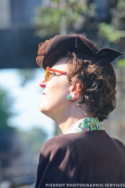 Woman in period hat at the 1940s weekend in Sheringham, North Norfolk