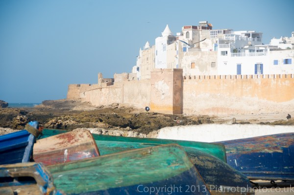 View from the port of Essaouira, Morocco, looking towards the walled city
