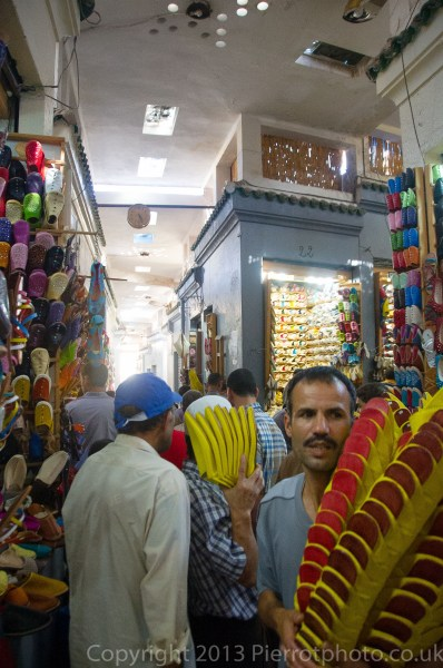 Shoe dealers in the souk in Fez, Morocco