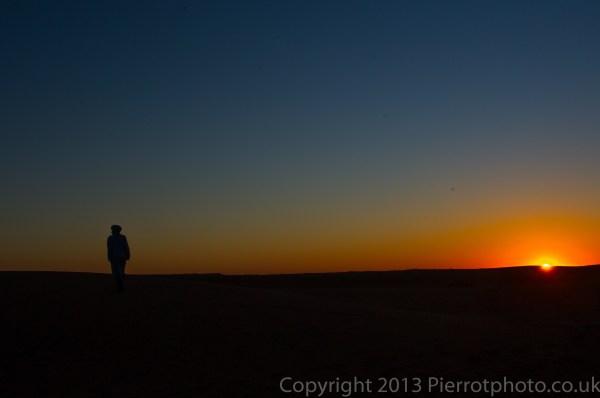 Sunrise in the sand dunes in the Sahara desert, Morocco