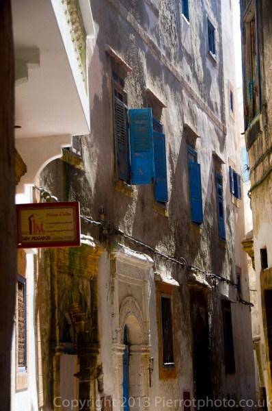 Windows on buildings in the medina in Essaouira, Morocco