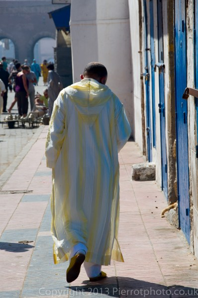 Morrocan in his finery for the festival of Eid al Ahad in the medina of Essaouira, Morocco