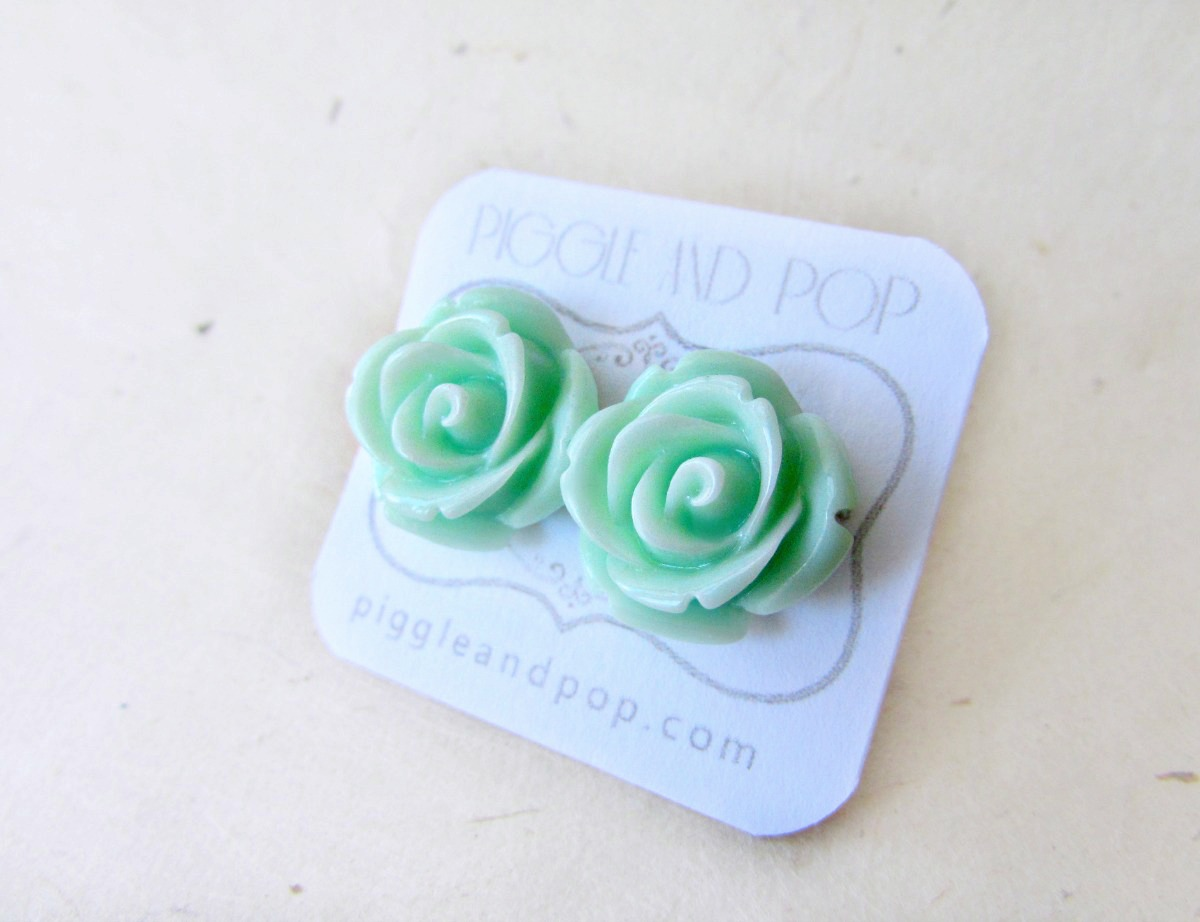 Pop The Pig Big W Mint Rose Flower Stud Earrings