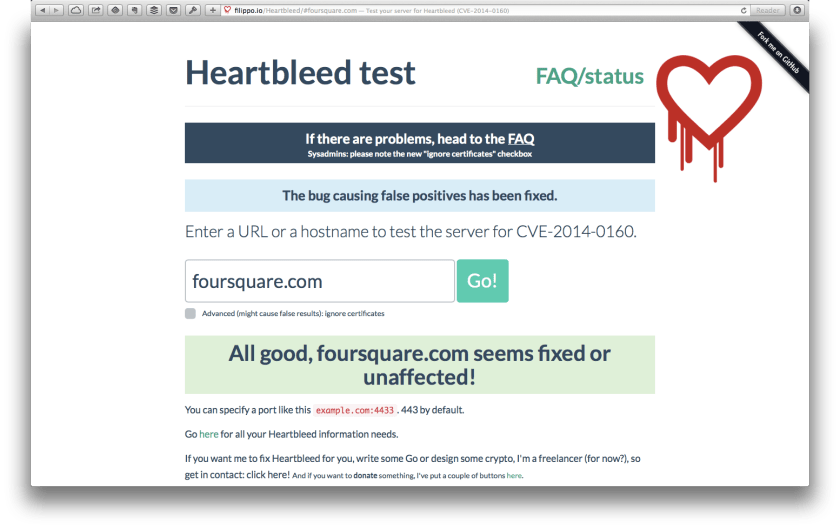 Heartbleed test foursquare