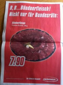 Bündnerfleisch Werbung von Denner, Zentralschweiz am Sonntag