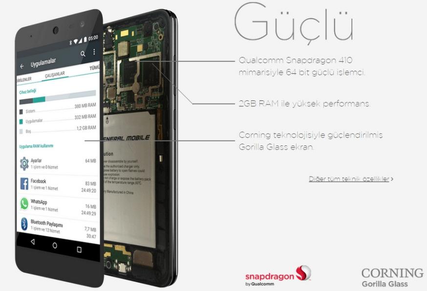 General Mobile 4G procesador