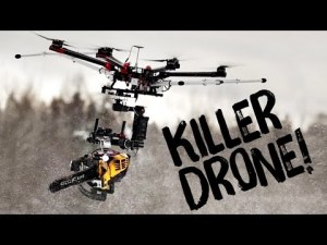 KILLERDRONE! Une tronçonneuse montée sur un drone – YouTube