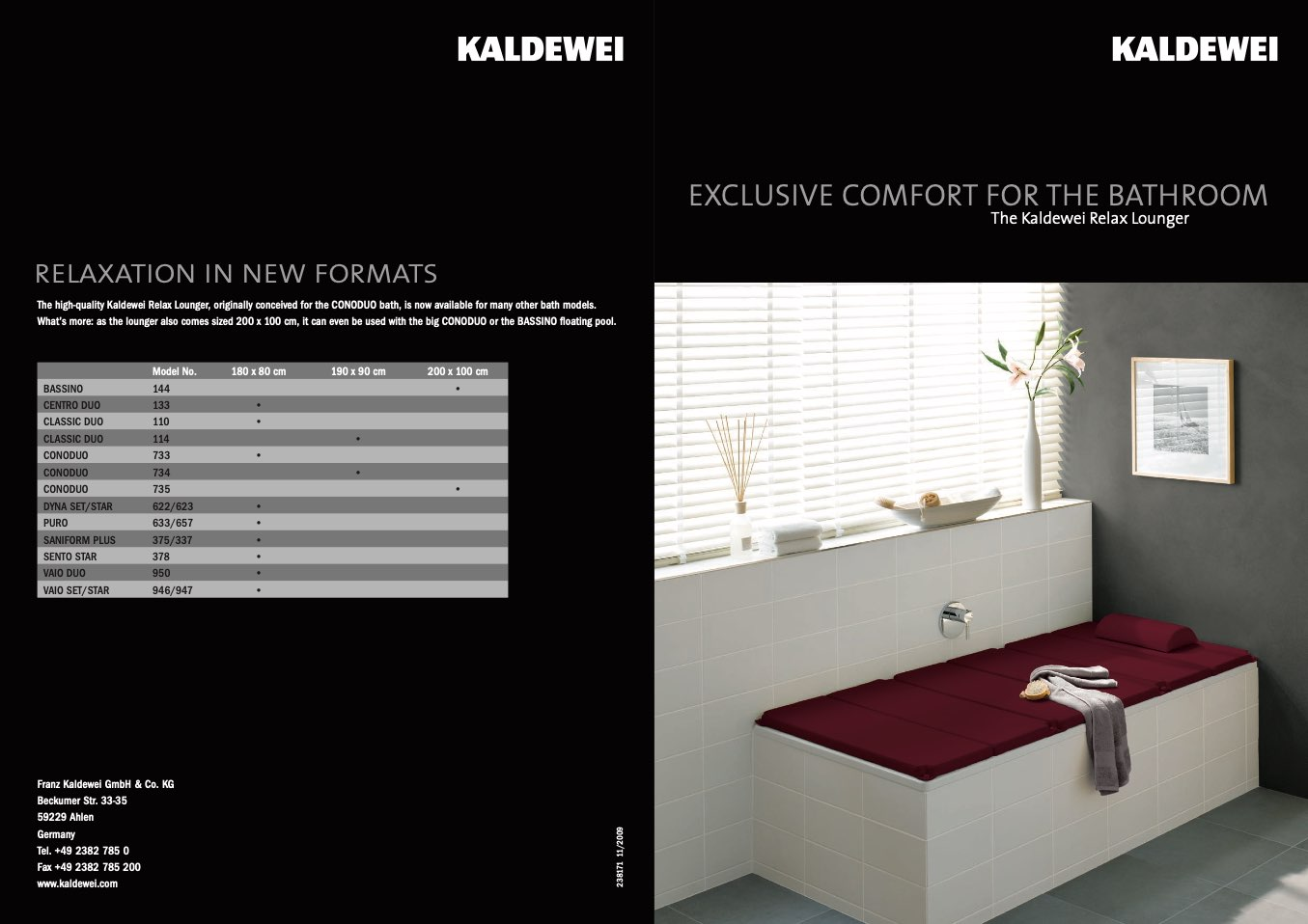 Kaldewei Conoduo Kaldewei Exclusive Comfort For The Bathroom Relax Lounger