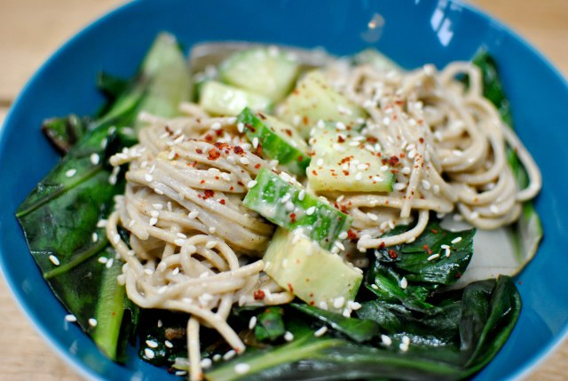 Soba noodles with ginger tahini and greens {vegan, gluten-free} - A pinch of me