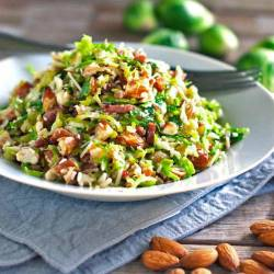 Encouragement Brussel Sprout Salad On A Bacon Bacon Yum Brussel Sprouts Keto Diet Brussel Sprouts Keto Casserole Brussel Sprout Salad Recipe Pinch