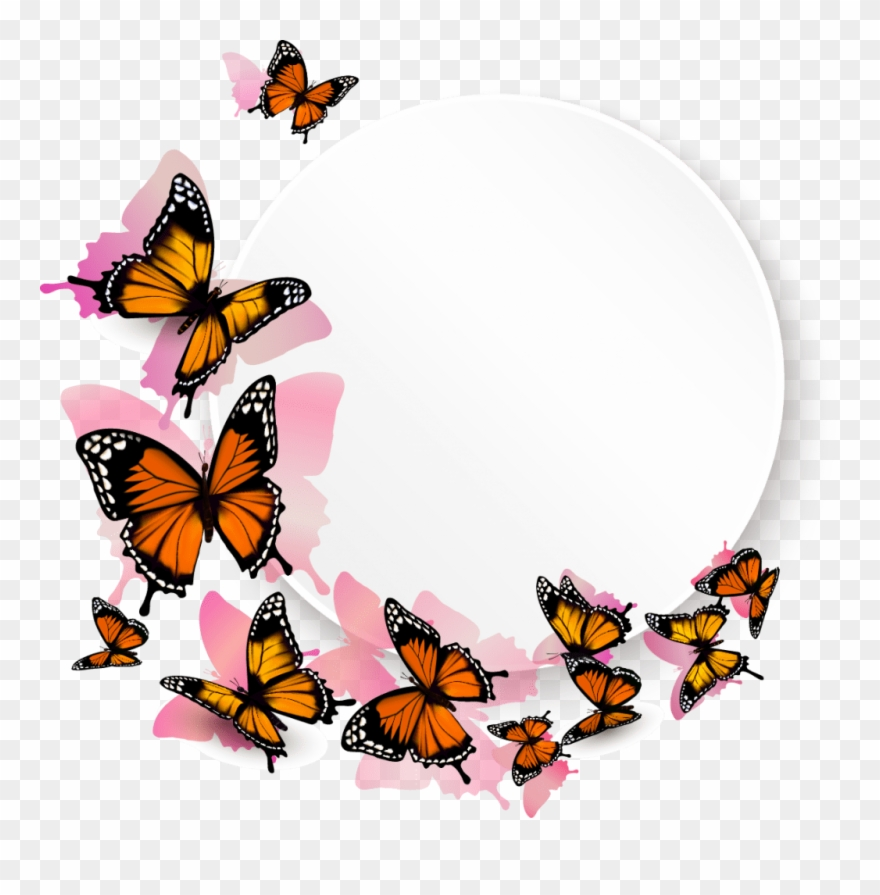 Png Flower Border Black Free Flower Border Clip Art Black And White Butterfly Png