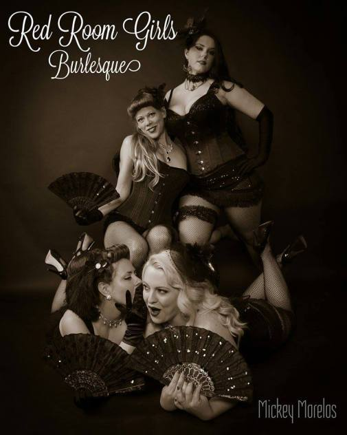 The Red Room Girls. L-R: Pussilla Divine, Lily Boudoir, The Black Dahlia, Tallulah Strange