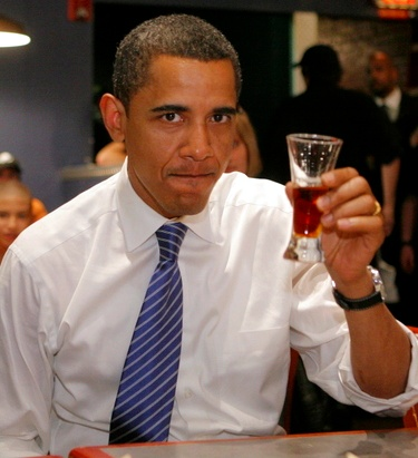 Affluent drinker, Obama ripping shots on the campaign trail