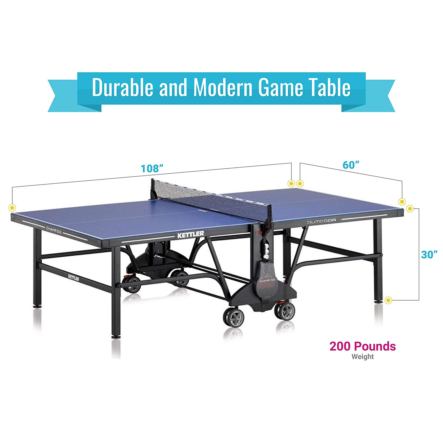 Kettler Garden Master Kettler Champ 5 Outdoor Table Tennis Table Pingponglab