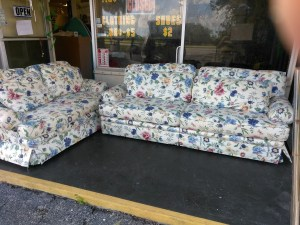 Floral Pattern Sofa and Love Seat $150