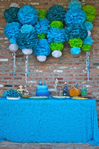 Little Mermaid Birthday Party Ideas - Pink Lover - blue and green birthday party