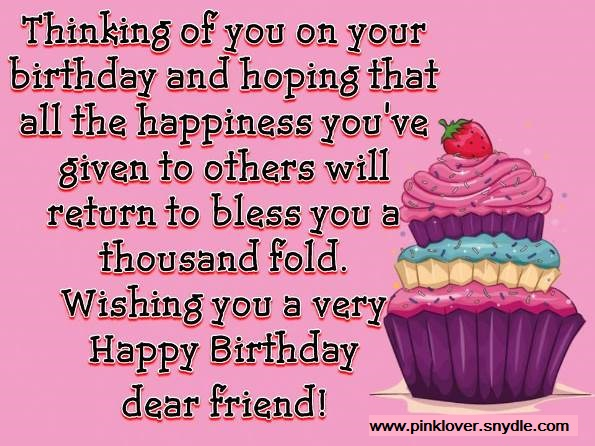 Happy Birthday Wishes for a Friend - Pink Lover
