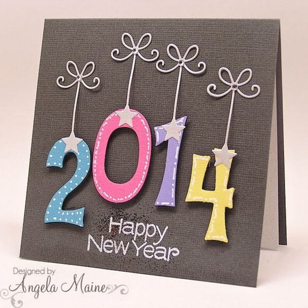 Handmade New Year Greeting Cards 2016 - Pink Lover