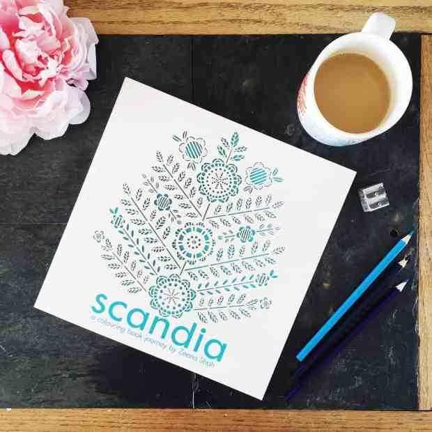 Scandia, an adult colouring book by Zeena Shah