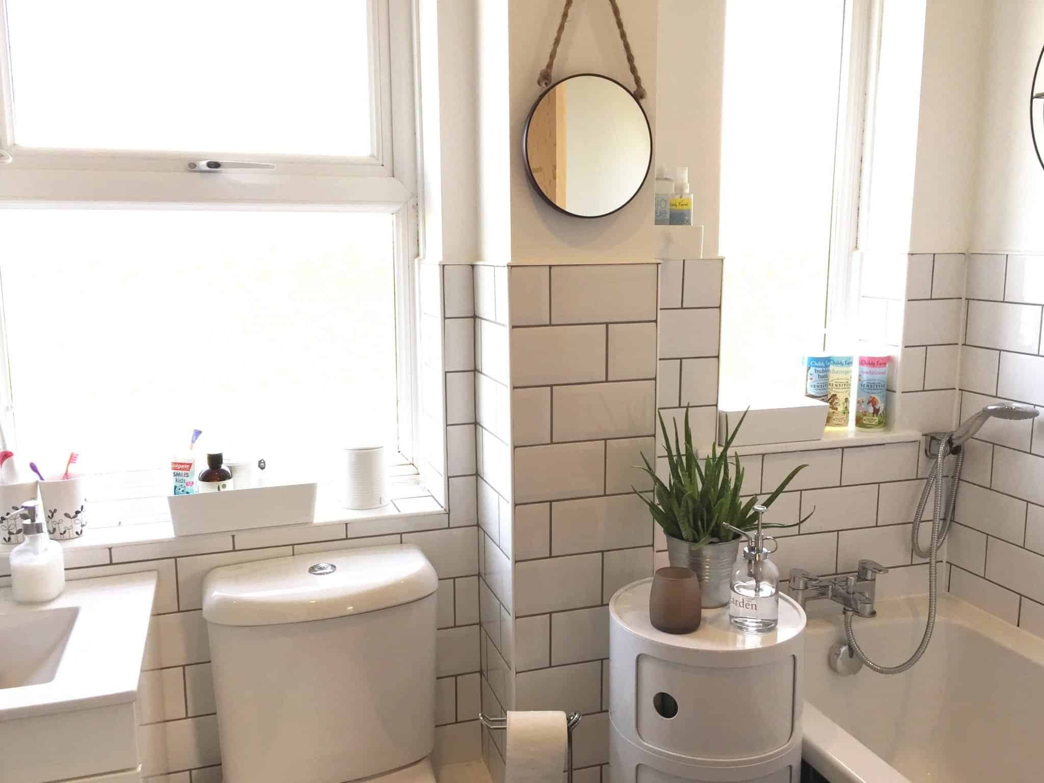 White Bathroom With White Metro Tiles And Grey Grout Pinkscharming
