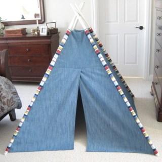 Teepee made from DIY teepee sewing tutorial