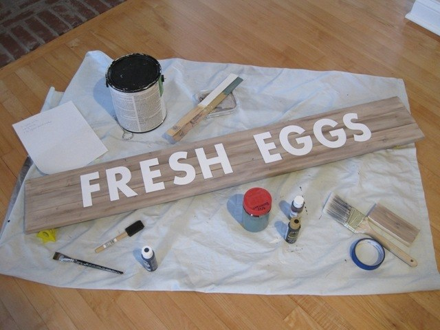 DIY Fresh Egg sign stencil cut out and positioned