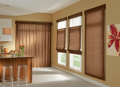 Standard Roman Style Natural Shades with Corded Bottom Up/Top Down in Escape, Island 25602 and Privacy Liner