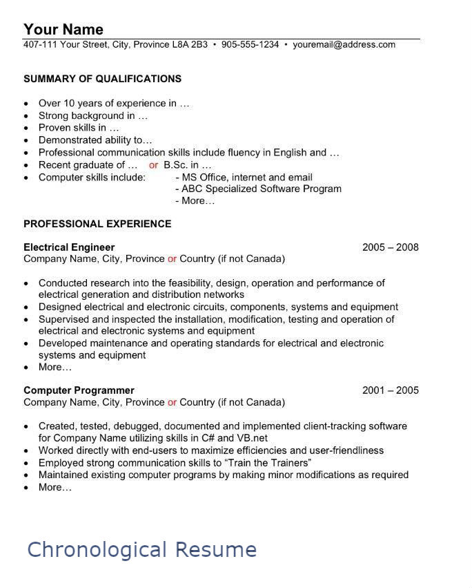 Resume In Canada Example