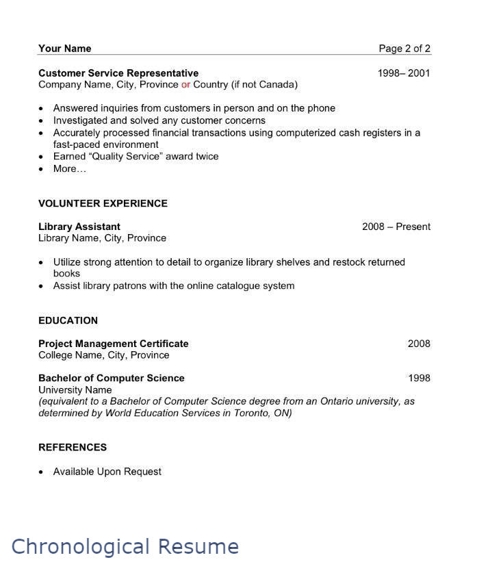 Sample Chronological Resume Page 2 Filipino Portal