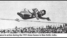 The famous western roll shot of Andres Franco which earnt him the Asian Games Gold Medal in 1951.