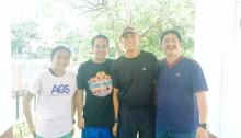100m winner Jenny Rose Rosales, Pirie Enzo (Weekly Relays Consultant), Renato Unso (Tournament Director) and George Posadas (Jenny's coach)