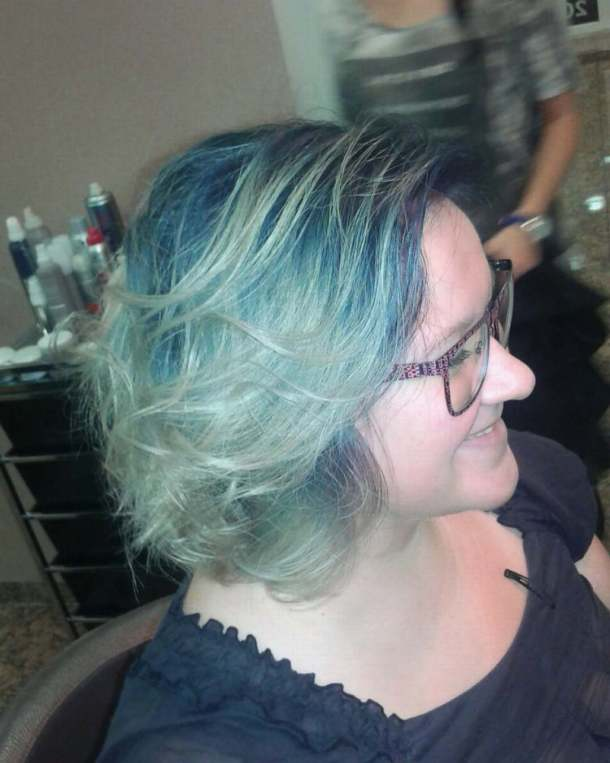 Satisfied smile on clients face ombre balayage blueombre blonde coolhairhellip