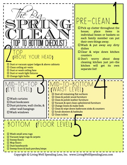 5 Awesome Spring Cleaning Checklists - Pins And Procrastination